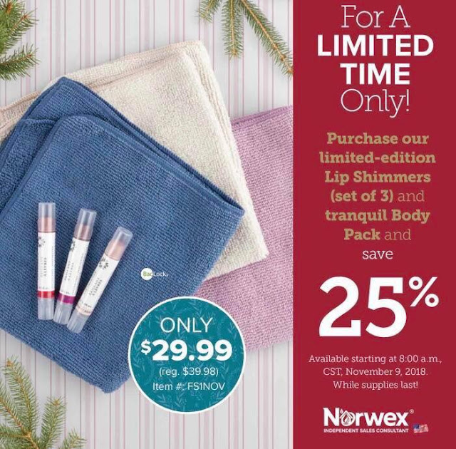 Norwex Lip Shimmers and Tranquil Body Cloths