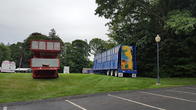 the carnival rides were delivered to the grounds of the Feast of Sto Rocco's for set up