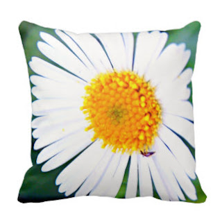 Yellow and white flower throw pillow