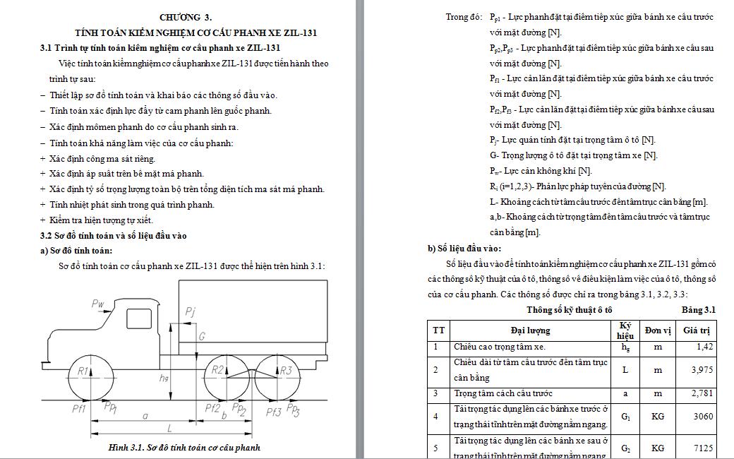 tính toán kiểm nghiệm cơ cấu phanh xe ZIL-131