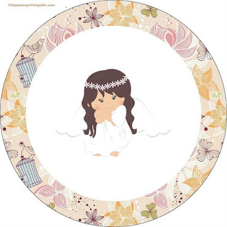 Toppers or Free Printable Candy Bar Labels for Angel in Vintage Garden.