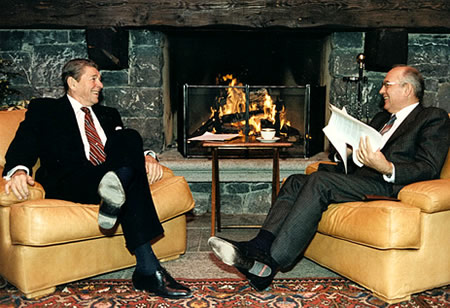 Mikhail Gorbachev meeting with Ronald Reagan