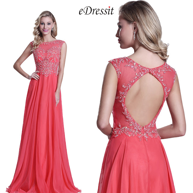 Sleeveless Beaded Bodice Coral Prom Dress