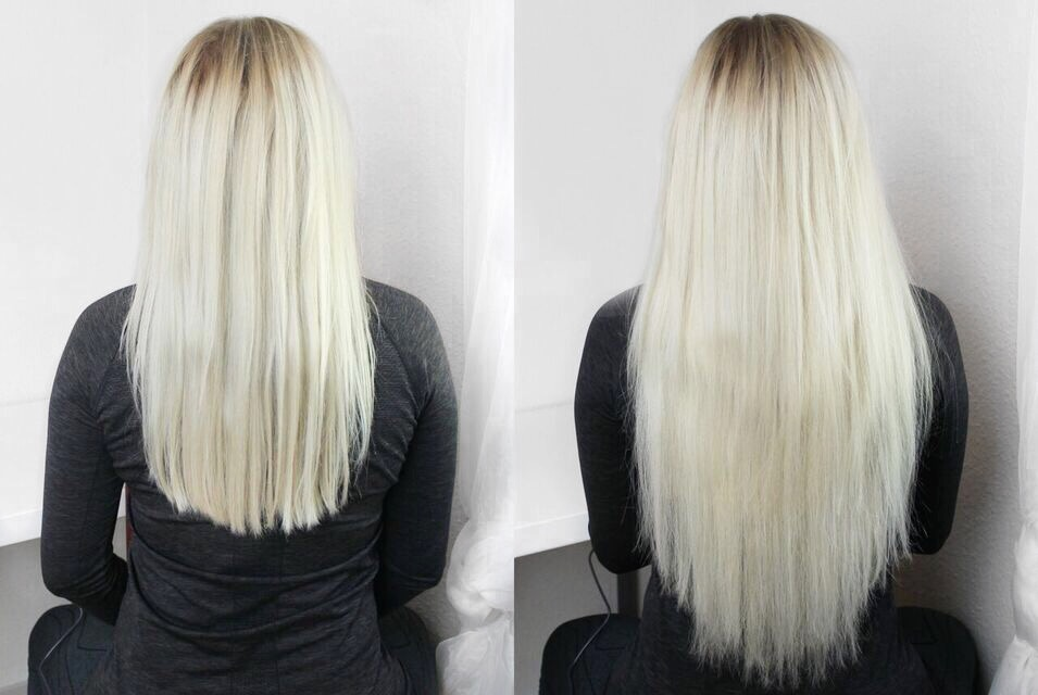 Foxy Locks Superior 230g20 Clip In Extensions Before After