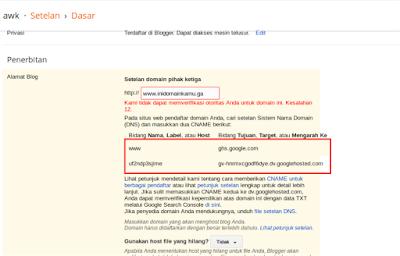 Selanjutnya masuk ke setelan blogspot tadi dan masukkan nama domain kamu lagi, jika ada error seperti ini maka tunggu beberapa saat