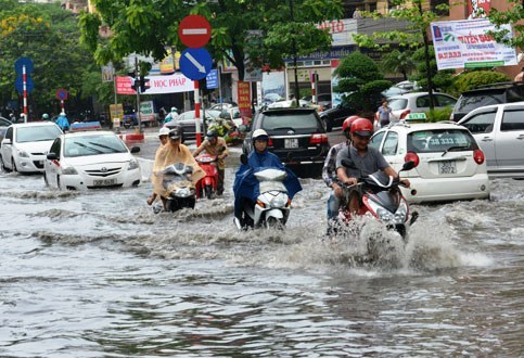 Hanoi streets often flooded after heavy rain
