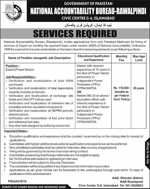 National Accountability Bureau NAB Rawalpindi Jobs 2019 for Expert Latest