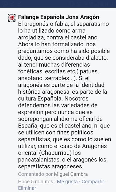 aragonés , fabla , falange española, defensa lengua, luenga