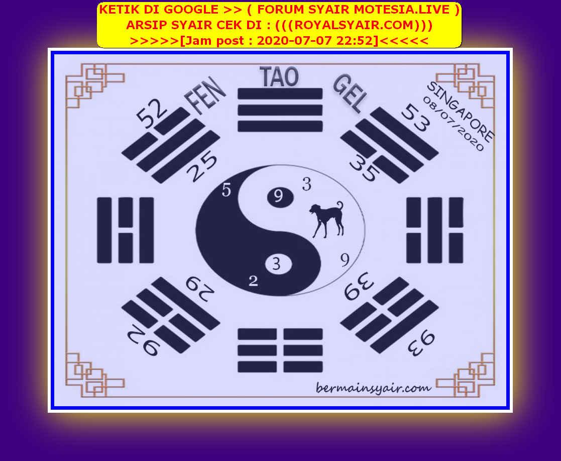 Kode syair Singapore Rabu 8 Juli 2020 230