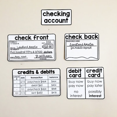 Financial Literacy Word Wall - check front and back, credits and debits in a checkbook register and debit vs. credit card