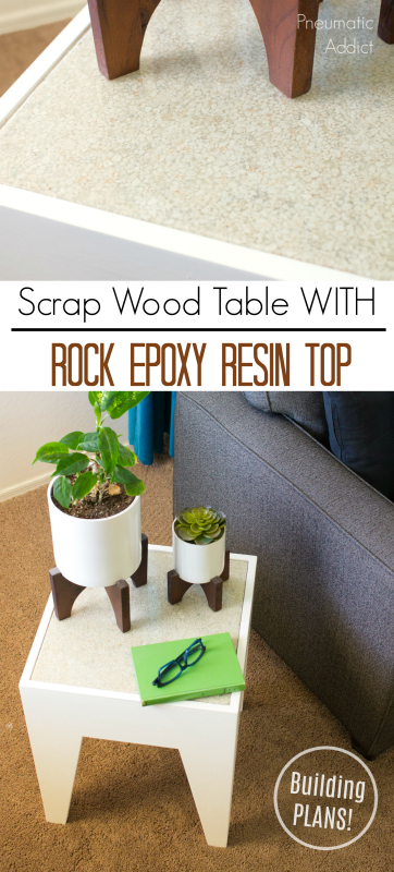 how to diy epoxy resin rock stone gravel end side table scrap wood challenge