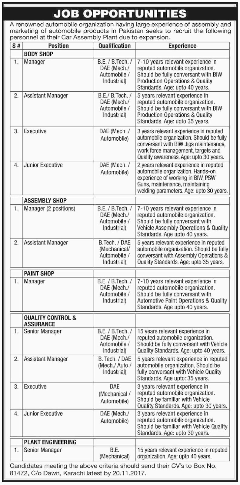 Automobile job opportunities 2017,engineering jobs,DAE jobs,Jobs in Karachi, Jobs in Sindh, Jobs for Engineers, Auto mobile jobs in Pakistan, Jobs in Pakistan, Pakistan Jobs