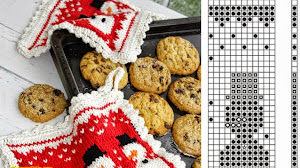 Agarradera navideña - tricot / dos agujas