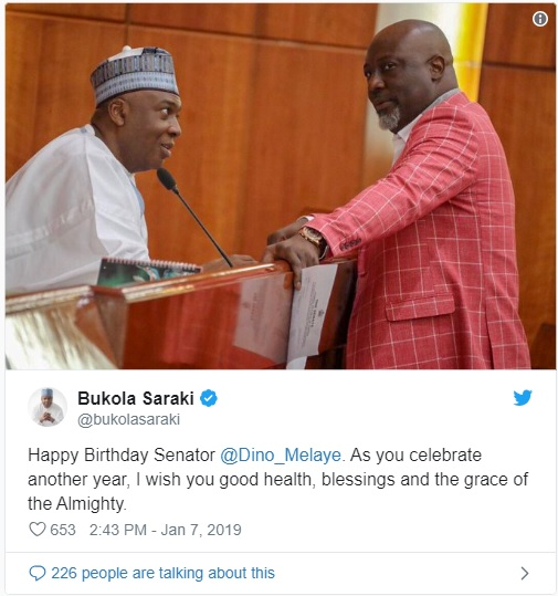 Saraki, Murray-Bruce greet Melaye on his birthday