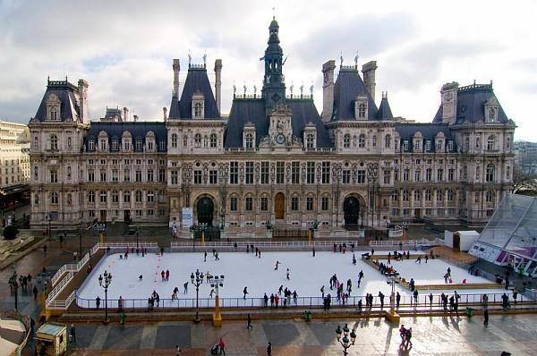 Pista de patinação do Hotel de Ville em Paris