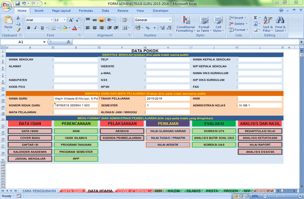 Form Administrasi Guru Format Microsoft Excel
