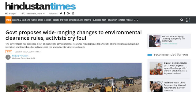 http://www.hindustantimes.com/india-news/govt-proposes-wide-ranging-changes-to-environmental-clearance-rules-activists-cry-foul/story-RZJj6YBGqjZWkvmNhgVV9K.html