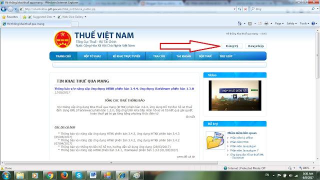 đăng ký tài khoản nhận tờ khai