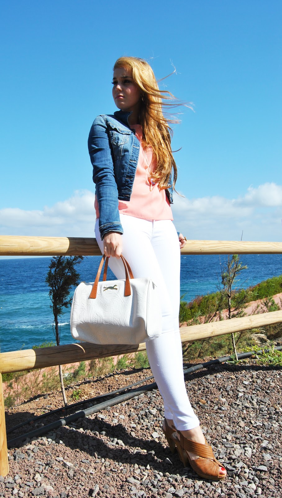 nery hdez, rainbow lollipop, white pants, denim jacket