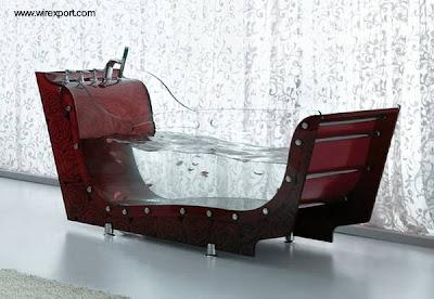 Bañera de diseño original con perfil de trineo y lados de vidrio