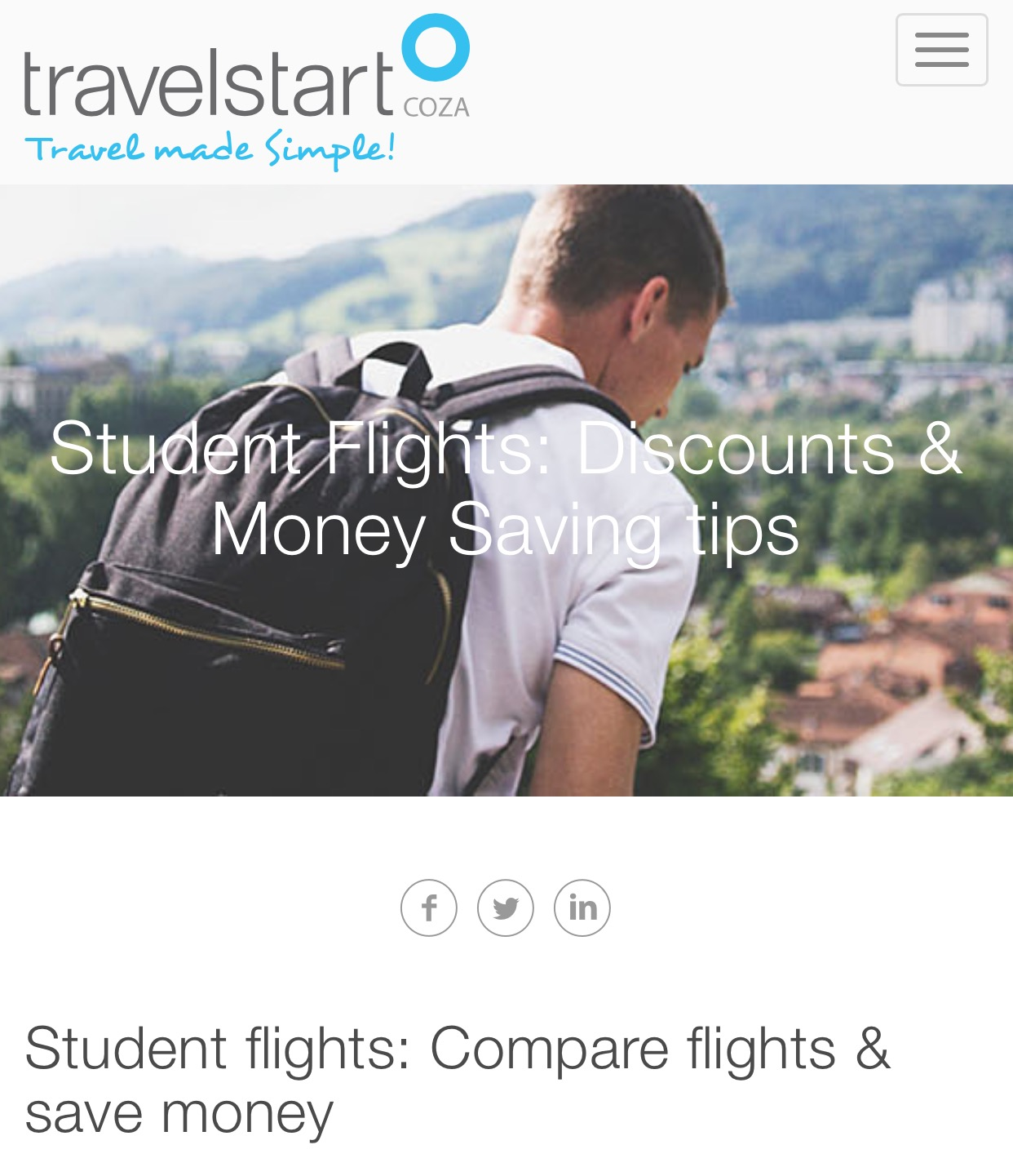Travelstart student flights homepage for travel tips and cheap student flights