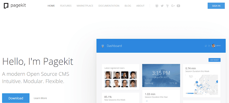 Pagekit content management system.
