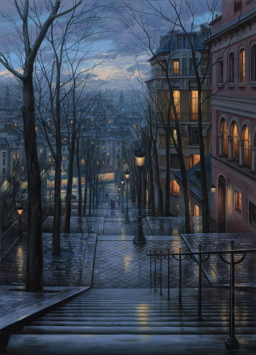 24-Rendezvous-on-Rue-du-Mont-Cenis-Evgeny-Lushpin-Scenes-of-Realistic-Night-Time-Paintings-www-designstack-co