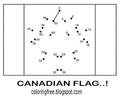 Canada dot to dot coloring page national flag of Canadian people maple tree leaf printable for kids