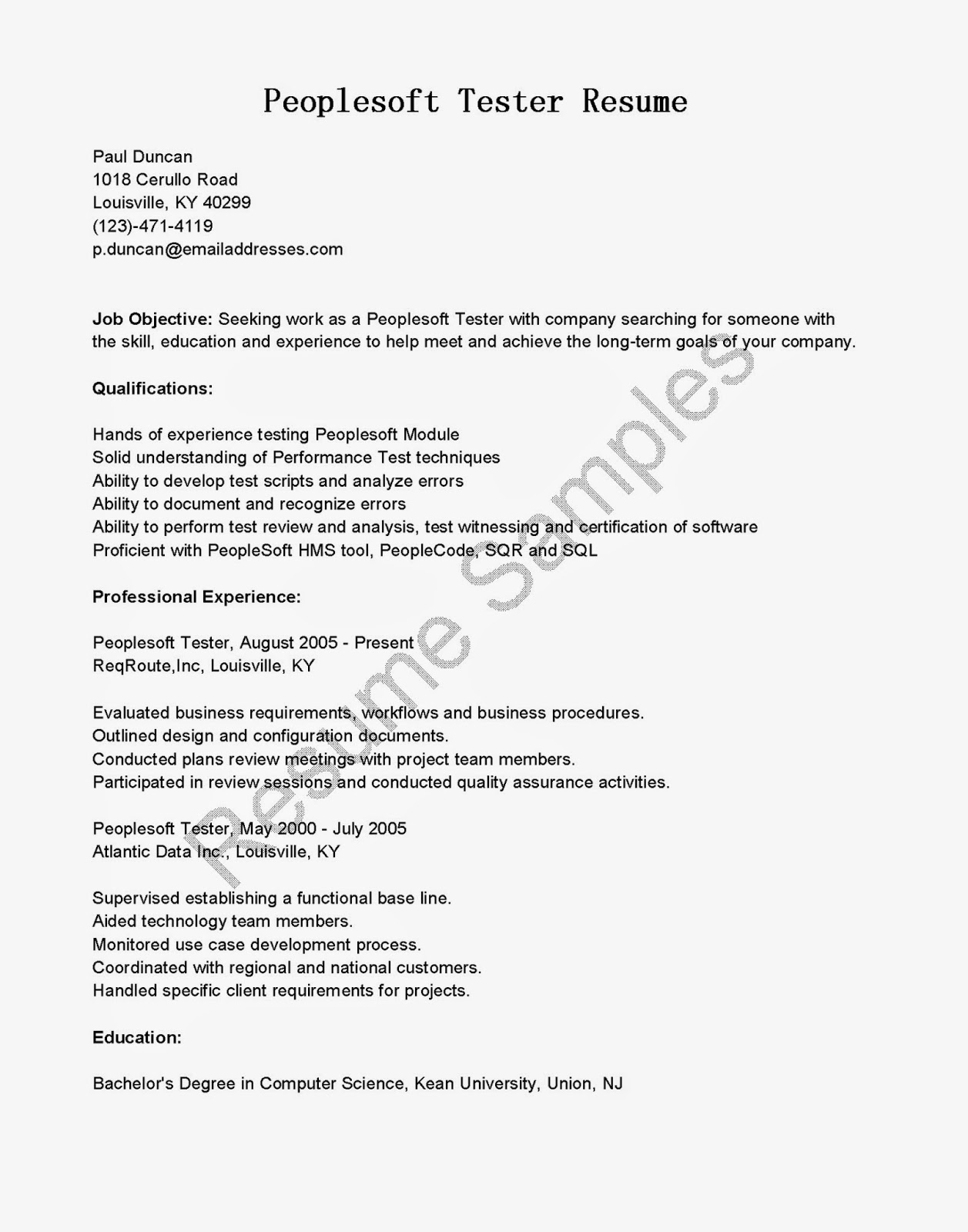 Resume Samples Peoplesoft Tester Resume Sample