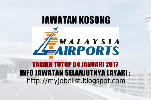 Jawatan Kosong Malaysia Airports (MAHB) Disember 2017