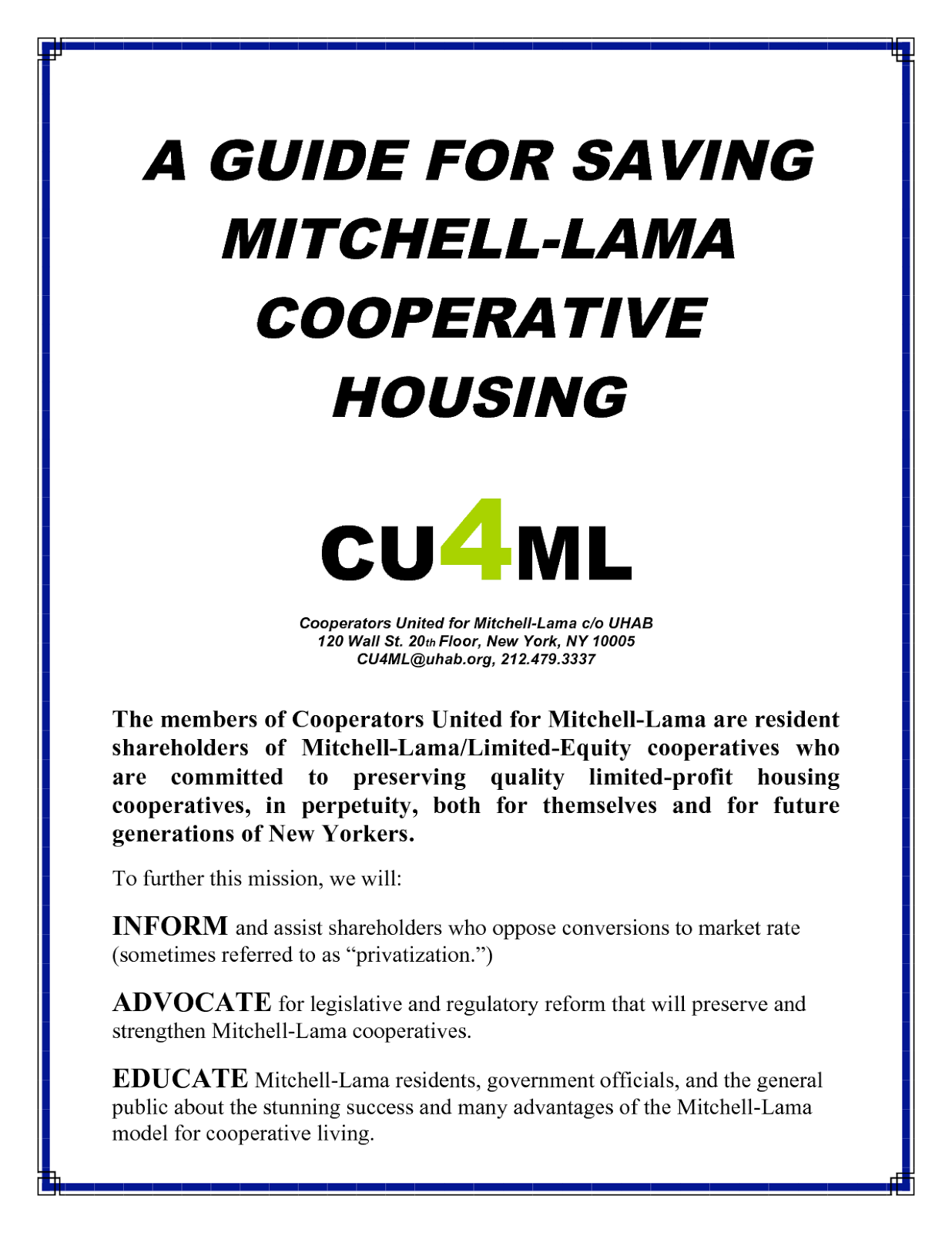 Save Affordable Housing: Mitchell-Lama