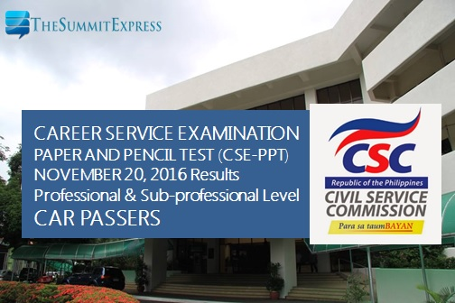 CAR Passers: November 2016 Civil Service Exam results (CSE-PPT)
