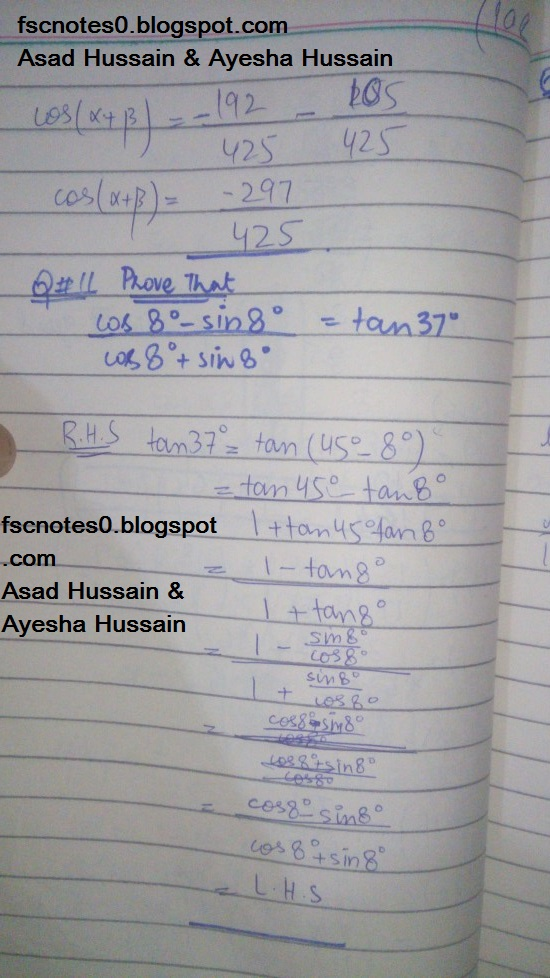 FSc ICS FA Notes Math Part 1 Chapter 10 Trigonometric Identities Exercise 10.2 Question 10 Written by Asad Hussain & Ayesha Hussain 6