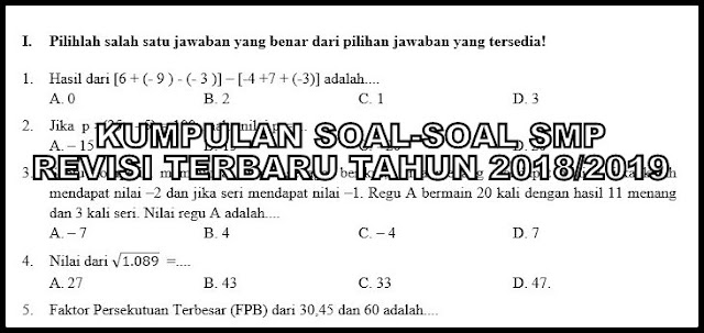 Download Kumpulan Soal-soal SMP Revisi Terbaru Tahun 2018/2019