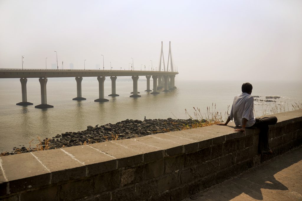 Photo of the bridge of Bandra-Worli Sea Link in Mumbai in India.