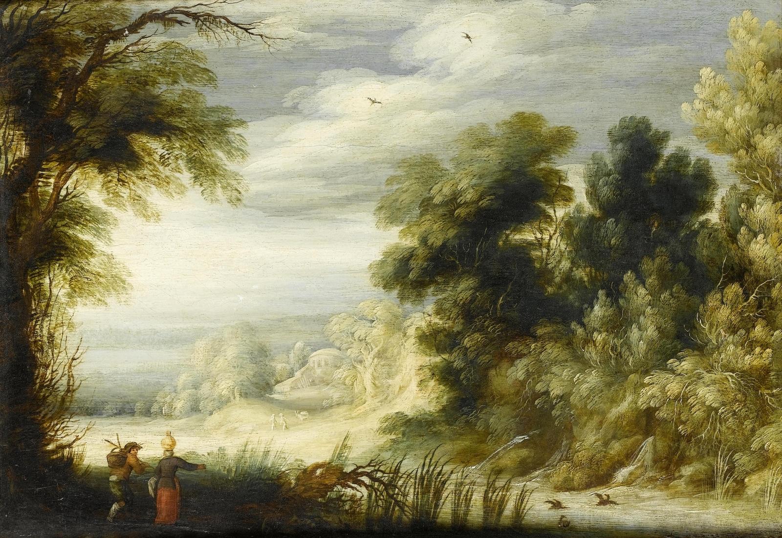 Обои картина, Лесной Пейзаж с Оленьей Охотой, Ян Брейгель старший. Разное foto 14