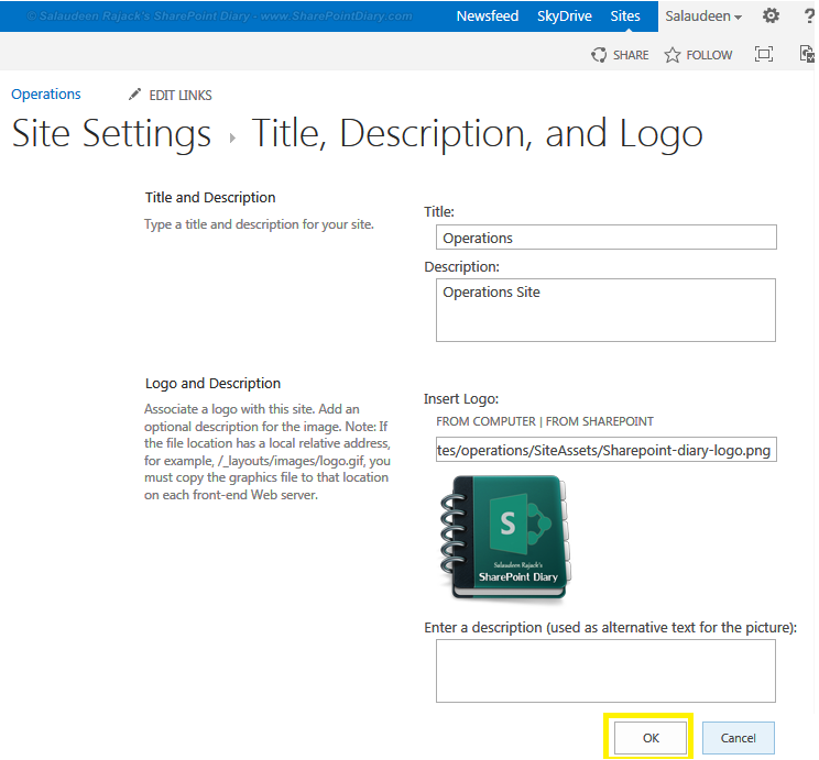 sharepoint 2013 insert logo from computer