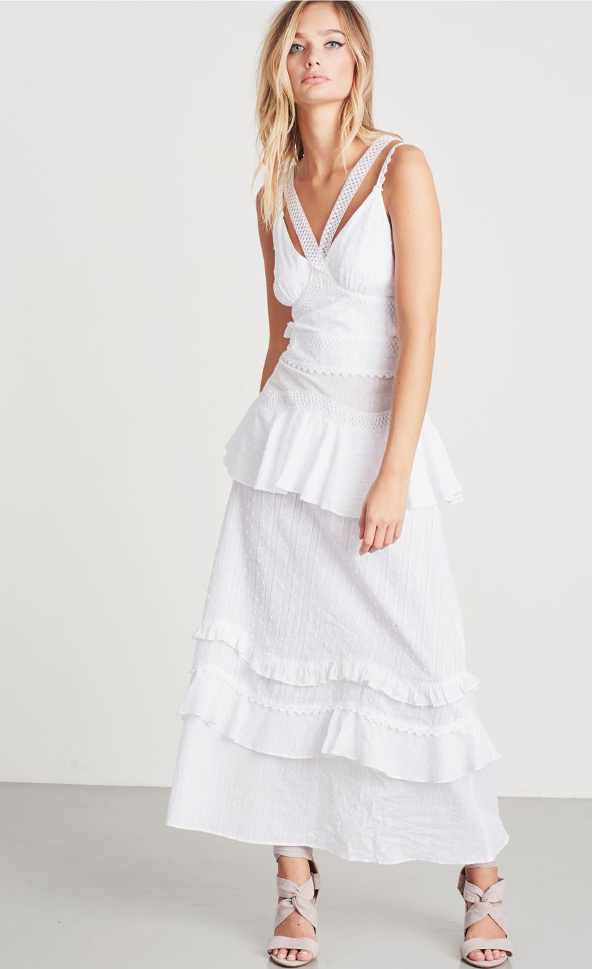 Lost Ink Cotton Crochet Mix Ruffle Dress