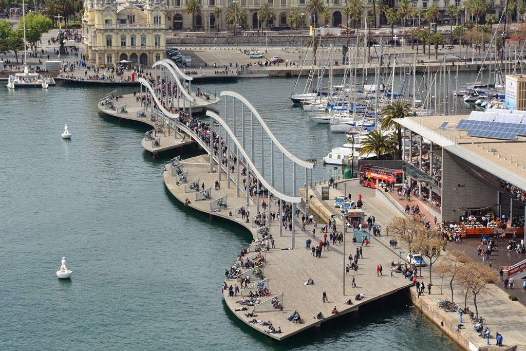 Cable car Barcelona modern bridge