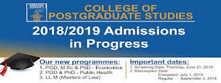 Babcock University Postgraduate School Admission Form - 2018/2019