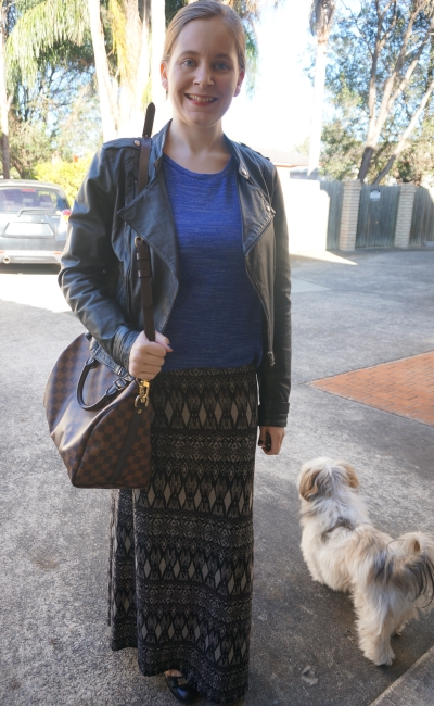 cobalt knit leather jacket printed maxi skirt: Winter SAHM style | AwayFromBlue