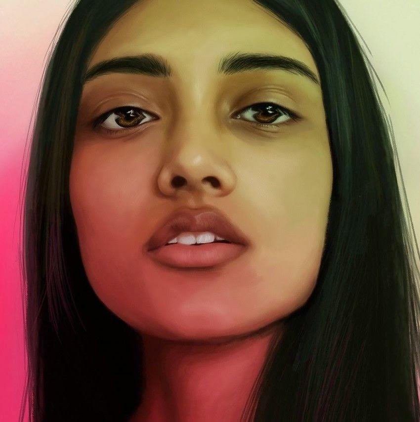 Dibujo realista de mujer