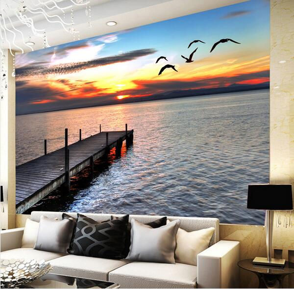 Nature Wall Murals Landscape Sea Wall Mural Wallpaper for Living Room
