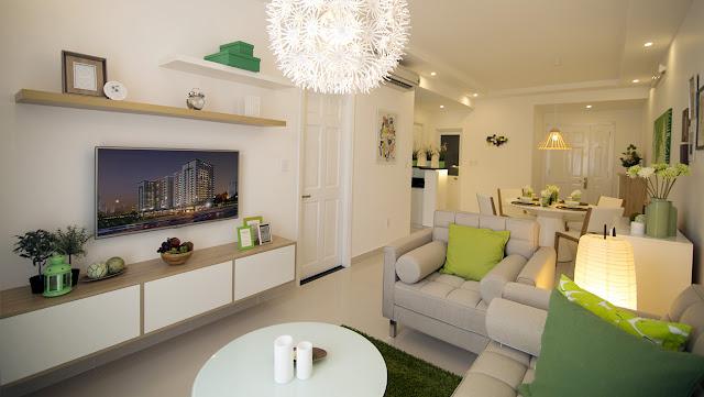 Phòng khách tại căn hộ mẫu chung cư The K Park Văn Phú