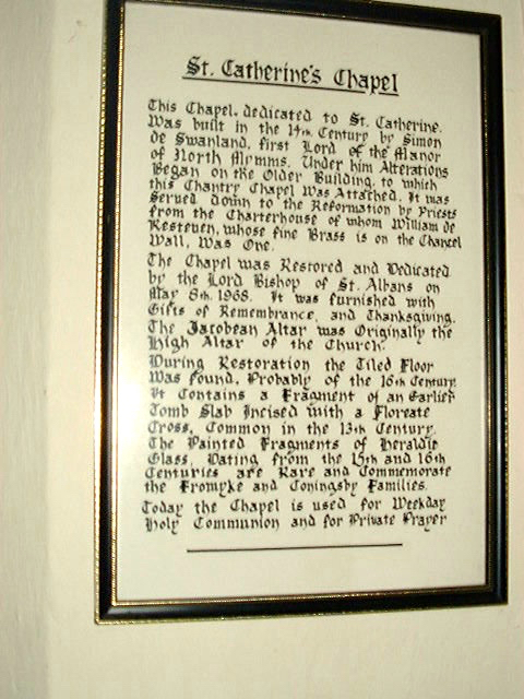 Image of The framed description of St Catherine's Chapel including references to Elizabeth Frowick and the Coningsby family Image by David Brewer released under Creative Commons BY-NC-SA 4.0