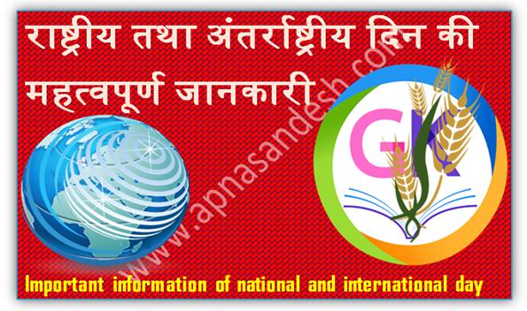 अंतर्राष्ट्रीय दिन की महत्वपूर्ण जानकारी in Hindi