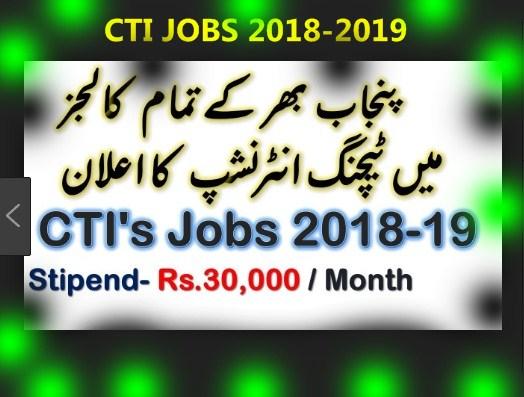 CTI Jobs 2018-2019 In Colleges of Punjab