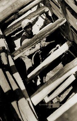 Picador con martillo neumático en el Pozo San Rafael