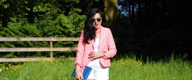 Gap neon blazer,Express tank top,white shorts,Topshop sandals, Ela Handbags mirror editor's pouch
